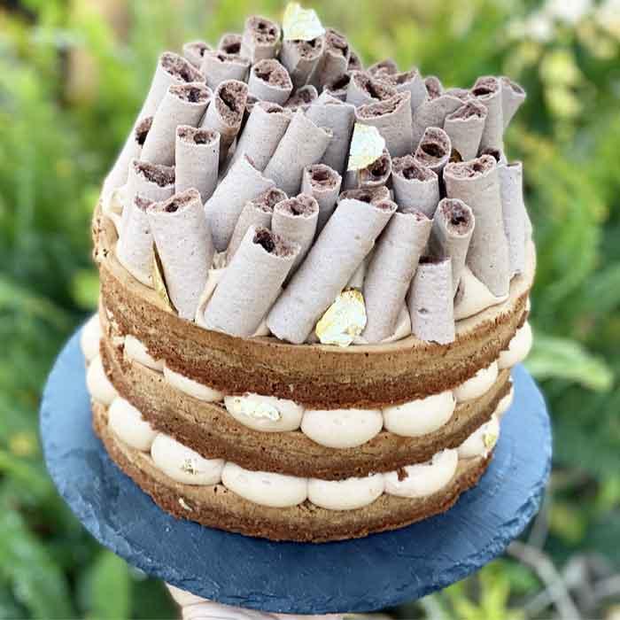 עוגת שכבות שוקולד שקדים